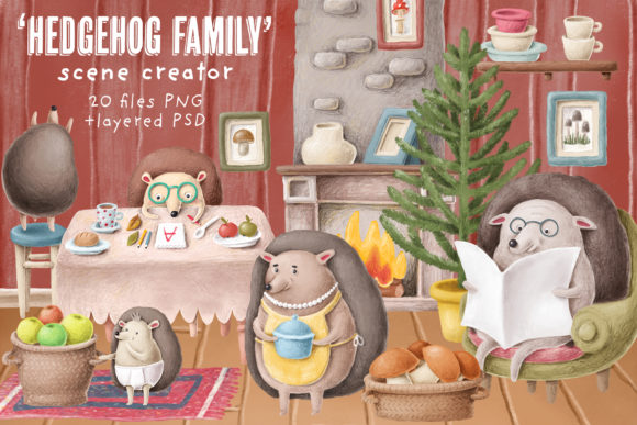 Print on Demand: Hedgehog Family Scene Creation Kit Grafik Illustrationen von Architekt_AT
