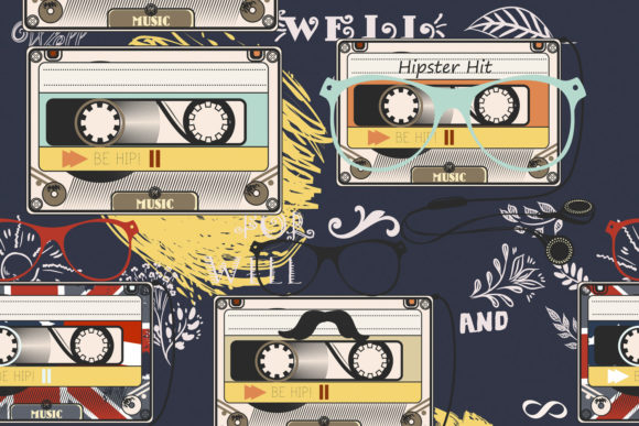 Hipster Vector Pattern Old Cassettes Graphic Patterns By fleurartmariia
