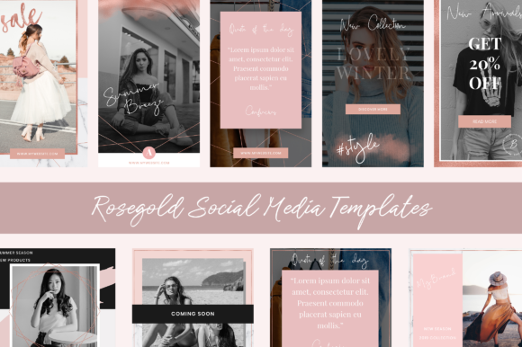Instagram Rosegold Stories and Posts Graphic Web Elements By The Branding Place