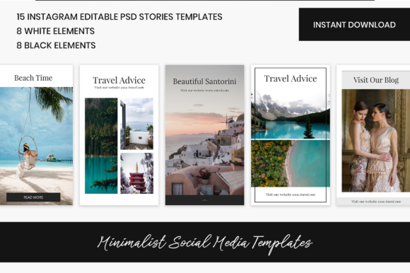 Instagram Stories + PNG Elements Graphic Web Templates By The Branding Place