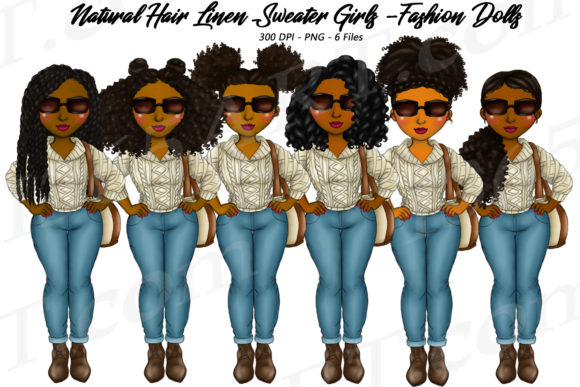 Linen Sweater Girls Natural Hair Clipart Graphic Illustrations By Deanna McRae