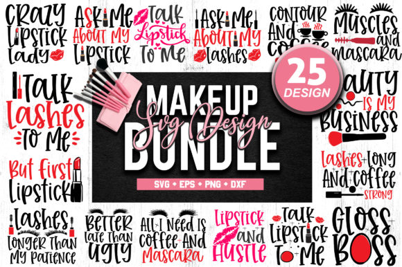 Print on Demand: Makeup SVG Design Bundle Gráfico Crafts Por SubornaStudio