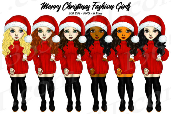 Merry Christmas Fashion Girls Clipart Graphic Illustrations By Deanna McRae
