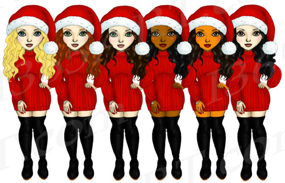 Download Free Merry Christmas Fashion Girls Clipart Graphic By Deanna Mcrae for Cricut Explore, Silhouette and other cutting machines.