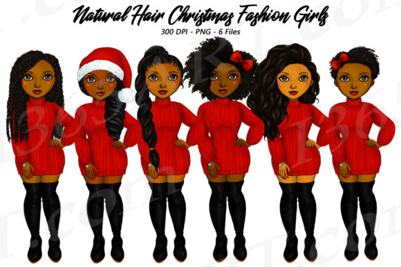 Natural Hair Christmas Girls Clipart Set Graphic Illustrations By Deanna McRae