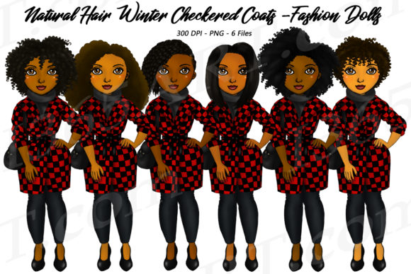 Natural Hair Red Checkered Coat Clipart Graphic Illustrations By Deanna McRae