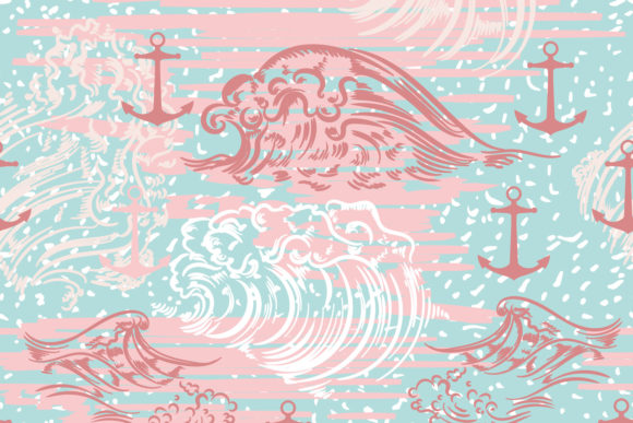 Ocean Summer Vector Pattern with Waves Graphic Patterns By fleurartmariia