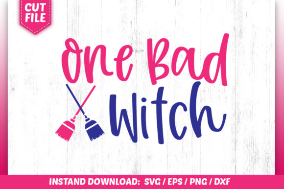 Download Free One Bad Witch Svg Graphic By Subornastudio Creative Fabrica for Cricut Explore, Silhouette and other cutting machines.