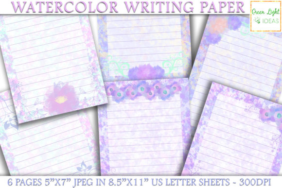 Printable Watercolor Stationery Paper Graphic Objects By GreenLightIdeas