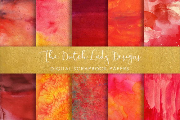Print on Demand: Red Watercolor Scrapbook Papers Graphic Backgrounds By daphnepopuliers
