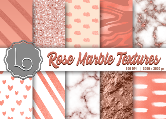 Print on Demand: Rose Marble Textures Graphic Textures By La Oliveira