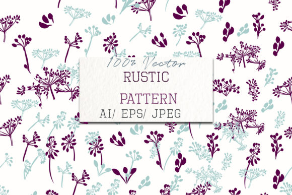 Rustic Floral Pattern Blue Purple Plants Graphic Patterns By fleurartmariia