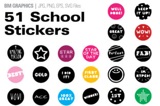 Print on Demand: School Stickers Pack | over 50 Stickers Graphic Icons By GraphicsBam Fonts