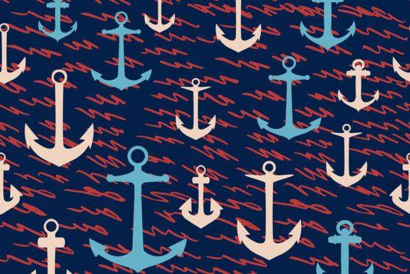 Sea Vector Rustic Pattern Waves, Anchors Graphic Patterns By fleurartmariia