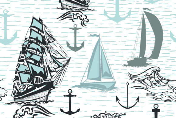 Simple Summer Wallpaper Pattern Ships Graphic Patterns By fleurartmariia