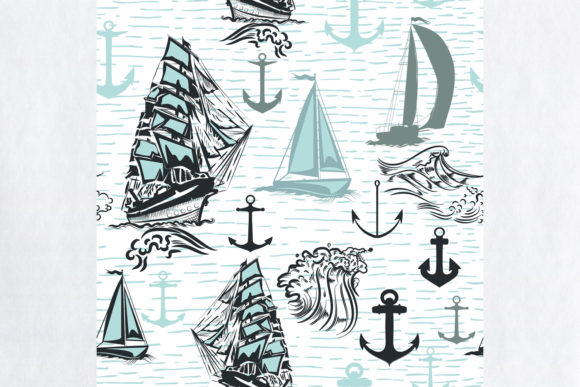 Download Free Simple Summer Wallpaper Pattern Ships Graphic By Fleurartmariia for Cricut Explore, Silhouette and other cutting machines.