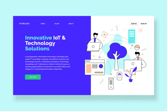 Print on Demand: Technology IT Consultant Landing Page Graphic UX and UI Kits By unfuturstudio