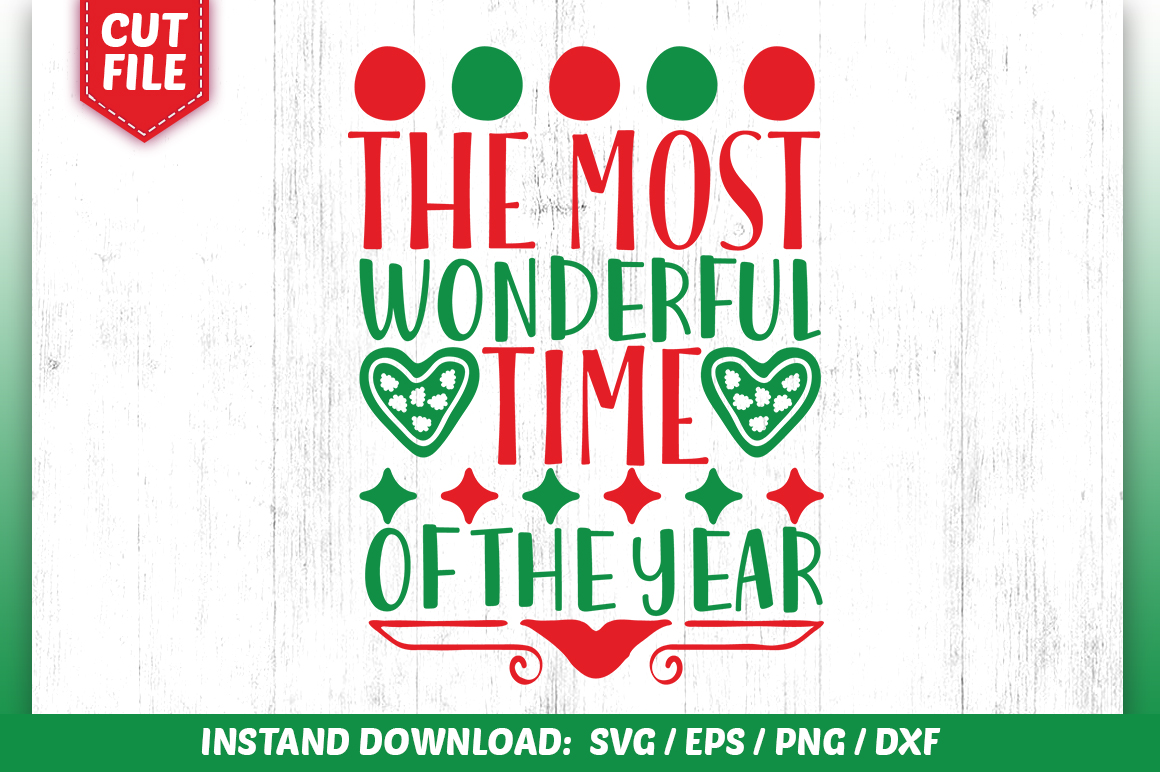 Download Free The Most Wonderful Time Of The Year Svg Graphic By Subornastudio for Cricut Explore, Silhouette and other cutting machines.