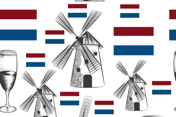 Vector Pattern with Mills, Holland Flag Graphic Patterns By fleurartmariia