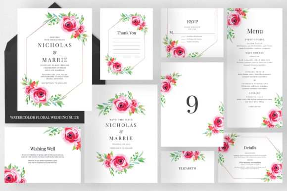 Watercolor Floral Wedding Suite Graphic Print Templates By Azka Creative