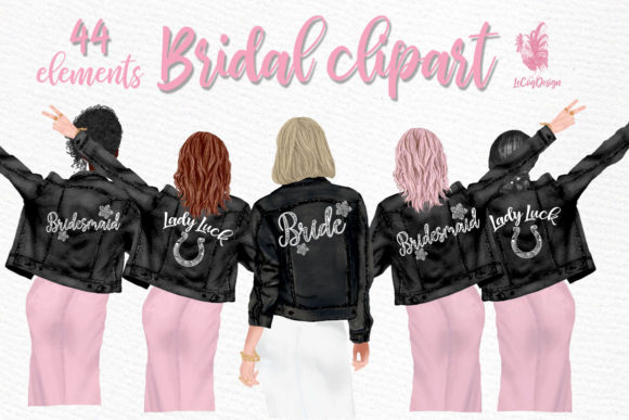 Wedding Clipart, Brides in Jackets Graphic Illustrations By LeCoqDesign - Image 1