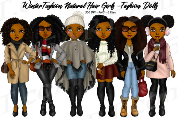 Winter Fashion Girl Natural Hair Clipart Graphic Illustrations By Deanna McRae - Image 1