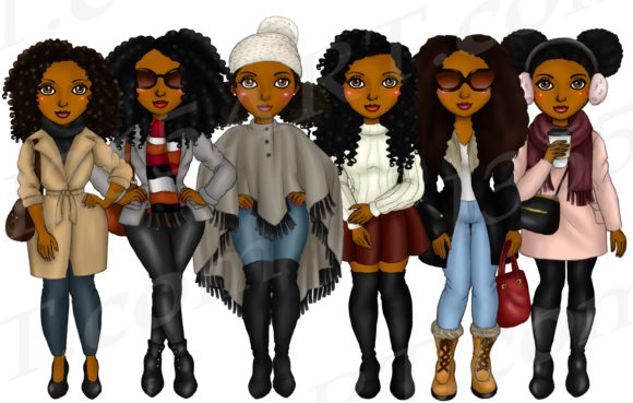 Winter Fashion Girl Natural Hair Clipart Graphic Illustrations By Deanna McRae - Image 2