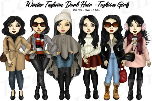 Winter Fashion Girls Black Hair Clipart Gráfico Ilustraciones Por Deanna McRae