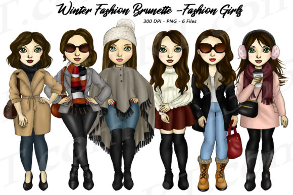 Winter Fashion Girls Brunette Clipart Graphic Illustrations By Deanna McRae - Image 1