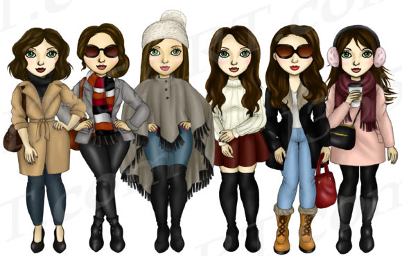 Winter Fashion Girls Brunette Clipart Graphic Illustrations By Deanna McRae - Image 2