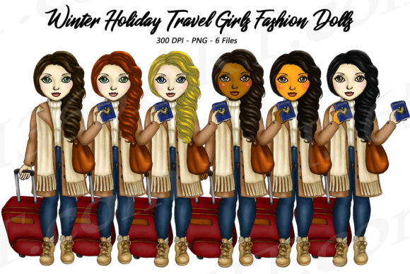 Winter Holiday Travel Girls Clipart Set Graphic Illustrations By Deanna McRae