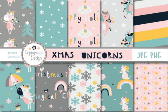 Print on Demand: Xmas Unicorn Paper Graphic Patterns By poppymoondesign