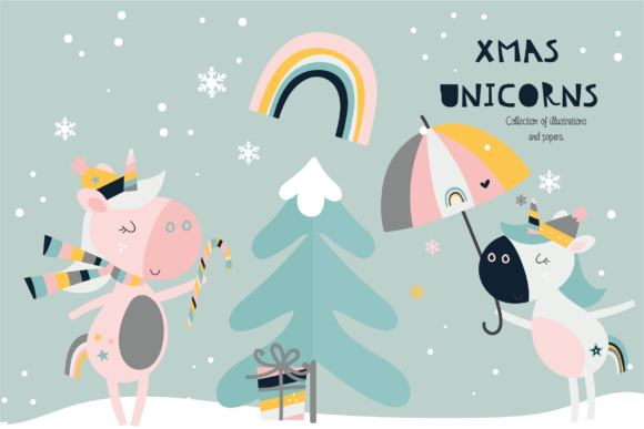 Print on Demand: Xmas Unicorns Graphic Illustrations By poppymoondesign - Image 1