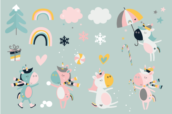 Print on Demand: Xmas Unicorns Graphic Illustrations By poppymoondesign - Image 2