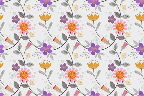 Hand Drawn Flowers Seamless Pattern. Graphic Patterns By ranger262