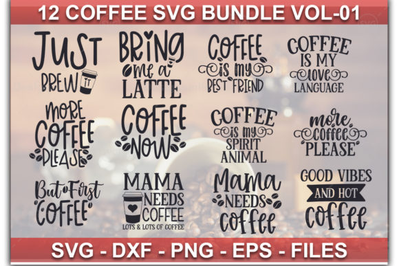 Print on Demand: 12 Coffee SVG Bundle Vol-01 Graphic Print Templates By Designdealy.com