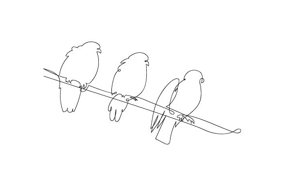 Download Free Pigeons Sitting On Telephone Wire In Line Art Style Svg Cut File for Cricut Explore, Silhouette and other cutting machines.