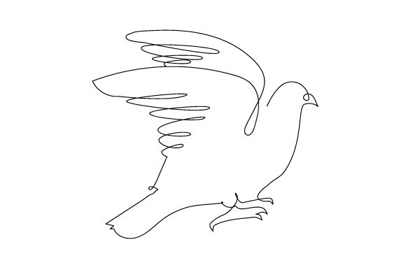 Pigeon Flapping Wings in Line Art Style Animals Craft Cut File By Creative Fabrica Crafts