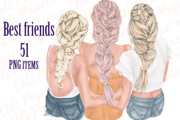 Best Friends Clipart Graphic Illustrations By ChiliPapers - Image 1