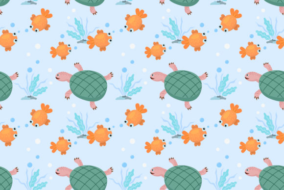 Download Free Cartoon Gold Fish And Turtle Pattern Graphic By Ranger262 for Cricut Explore, Silhouette and other cutting machines.