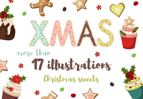 Christmas Gingerbread Cookies and Sweets Graphic Objects By danirablog