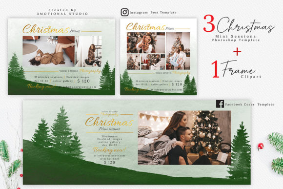 Print on Demand: Christmas Mini Session Template Graphic Product Mockups By 3Motional
