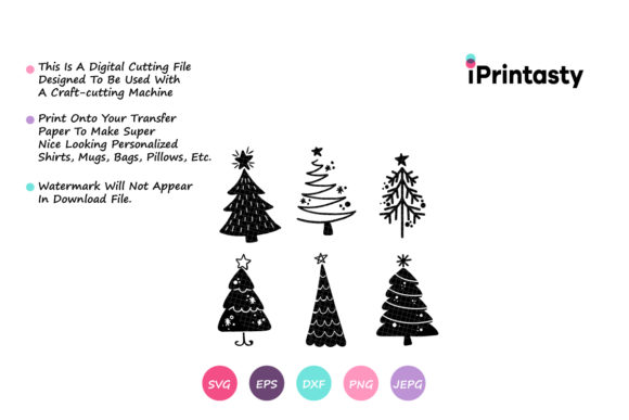 Download Free Christmas Trees Merry Christmas Graphic By Iprintasty Creative for Cricut Explore, Silhouette and other cutting machines.