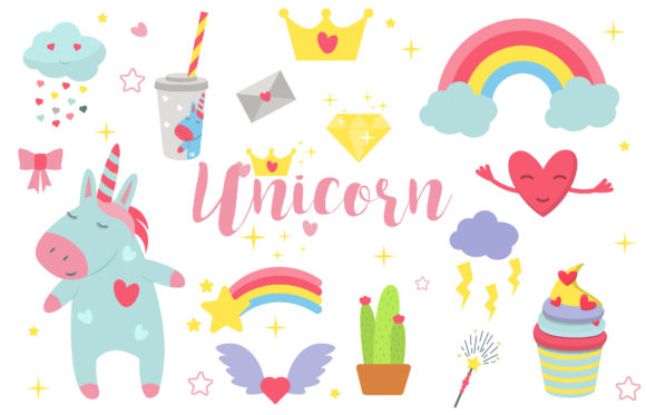 Cute Unicorn Collection Graphic Objects By danirablog