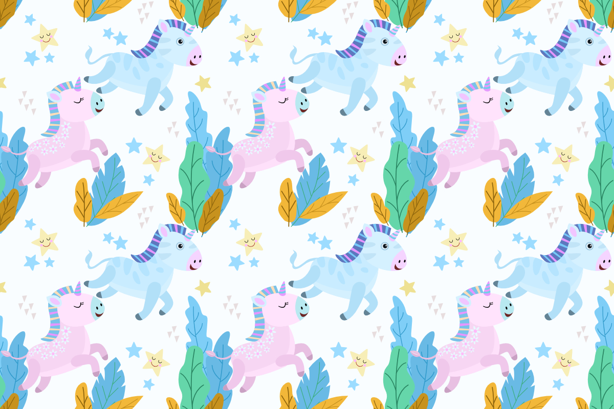 Download Free Cute Cartoon Baby Unicorn Pattern Grafico Por Ranger262 for Cricut Explore, Silhouette and other cutting machines.