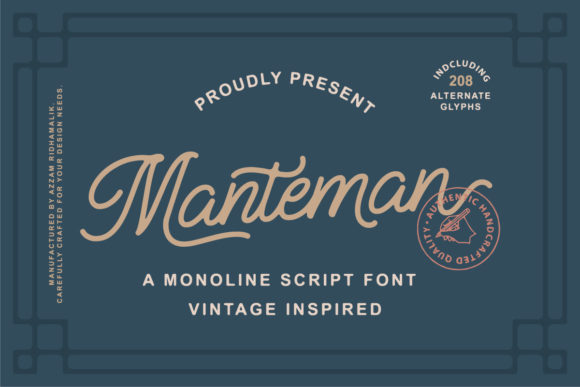 Download Free Manteman Font By Azzam Ridhamalik Creative Fabrica for Cricut Explore, Silhouette and other cutting machines.
