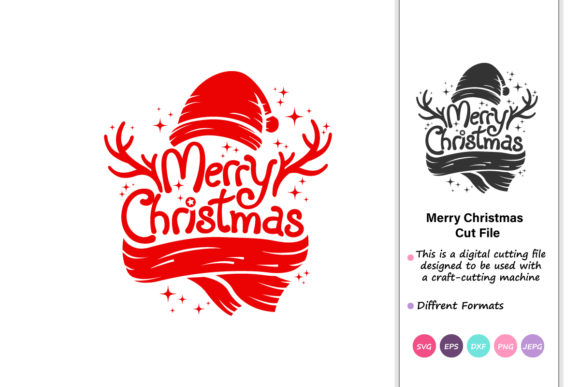 Download Free Merry Christmas Christmas Cipart Graphic By Iprintasty for Cricut Explore, Silhouette and other cutting machines.