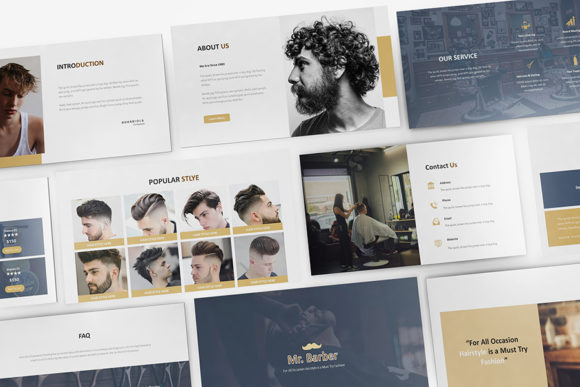 Mr Barber Barbershop Powerpoint Graphic Presentation Templates By formatikastd