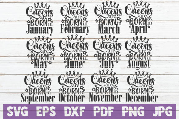 Download Free Queens Are Born In Svg Bundle Graphic By Mintymarshmallows for Cricut Explore, Silhouette and other cutting machines.