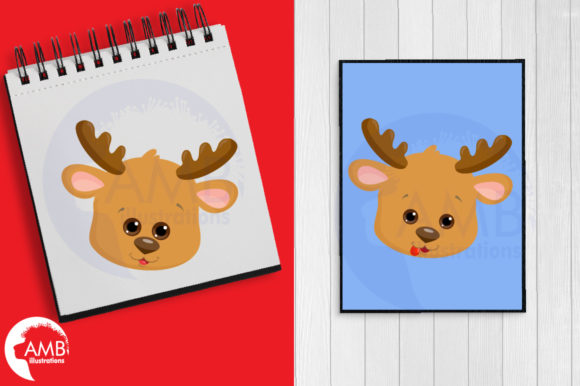 Reindeer Faces Graphic Illustrations By AMBillustrations - Image 2